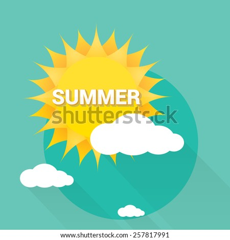 beautiful summer illustrations . vector summer label. summer icon with sun and clouds. - stock vector