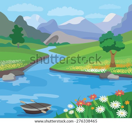 Beautiful  summer landscape (vector illustration) - stock vector