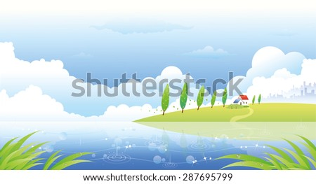 beautiful summer landscape with hills river rain and lone home