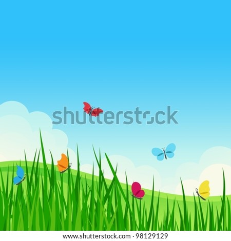 Beautiful summer meadow with colorful butterflies. Vector illustration. - stock vector