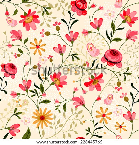 Beautiful summer ornate seamless pattern - stock vector