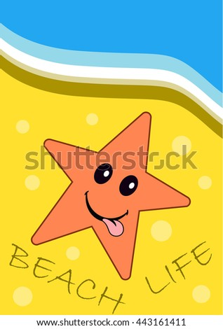 Beautiful summer poster of sea star on yellow sand on the beach. Journal card.