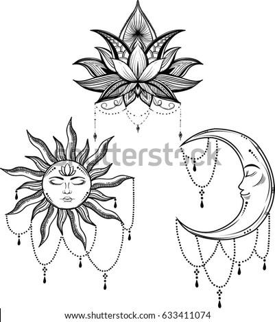 beautiful sun face symbol tattoo design vector �� ���