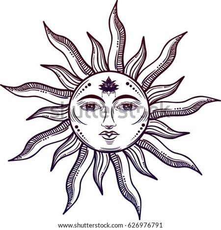 beautiful sun face symbol lotus flower stock vector 626976791 rh shutterstock com Rustic Floral Vector Rustic Border Vector