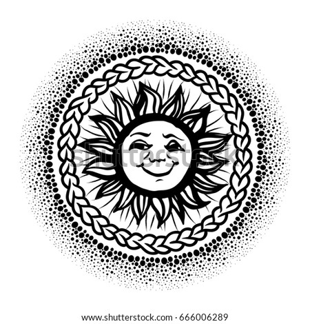 Bohemian Hand Drawn Sun Moon Tattoo Stock Vector 477470470