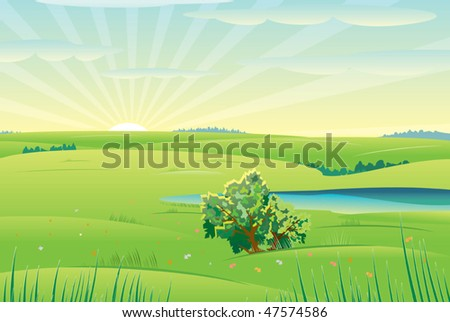 Beautiful sunny day,vector  landscape - stock vector