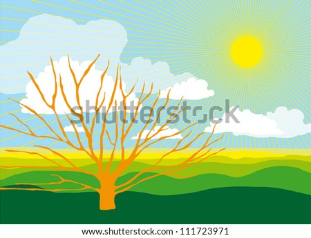 Beautiful Sunny Landscape with Big Shining Sun and a Tree Silhouette - stock vector