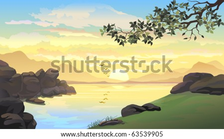BEAUTIFUL  SUNRISE , BIRDS AND LAKE SIDE - stock vector