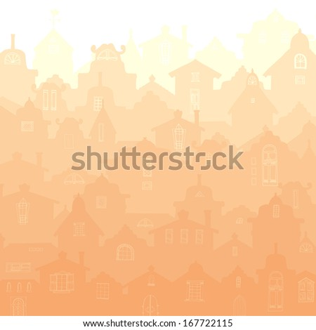Beautiful sunrise over an old city. Perfect city illustration made in shades of orange.  High quality hand drawn vector illustration.   - stock vector