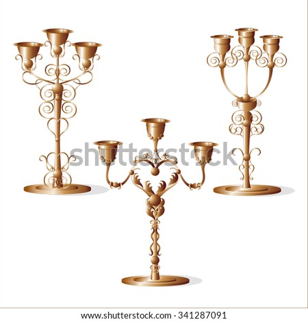 Beautiful supports for Christmas candles. Vector graphics.