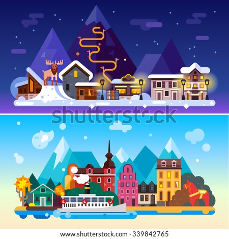 Beautiful Sweden day and night landscapes: Stockholm, northern weather, mountains, ski resort, moose,  boat on a sea, european architecture, red horse statue. Flat vector illustration stock set.