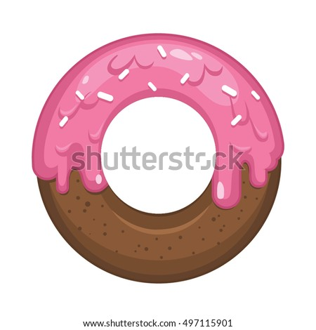 Beautiful tasty chocolate doughnut with pink glaze vector illustration