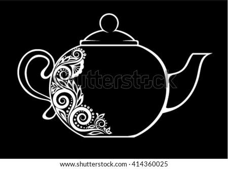 Beautiful teapot, decorated with black and white floral ornament isolated.  Floral design for greeting card and invitation of wedding, birthday, Valentine's Day, mother's day and seasonal holiday - stock vector
