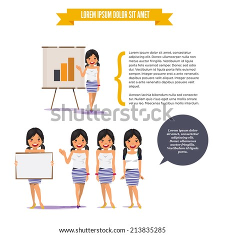beautiful teen girl presenting on paperboard in various poses for use in presentations, etc. - stock vector