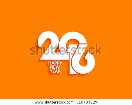 Beautiful text design of happy new year 2016 on bright background  - stock vector
