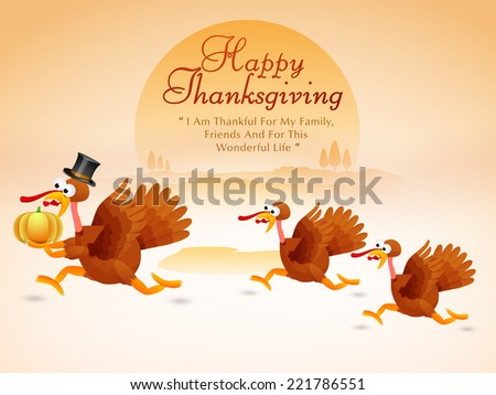 Beautiful Thanksgiving Day celebrations concept with cute turkey bird family holding pumpkin. - stock vector