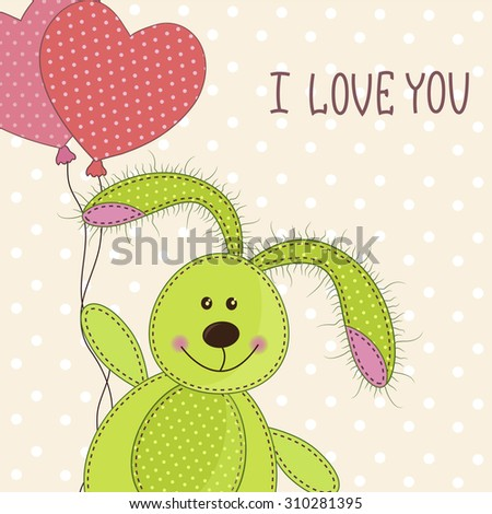 Beautiful toy bunny with hearts - stock vector