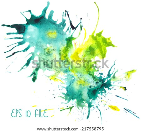 Beautiful traced vector watercolor splatter. Stain of blue and yellow paint.