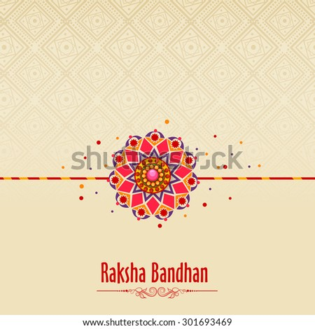 Beautiful traditional rakhi on floral design decorated background for Indian festival of brother and sister love, Happy Raksha Bandhan celebration. - stock vector