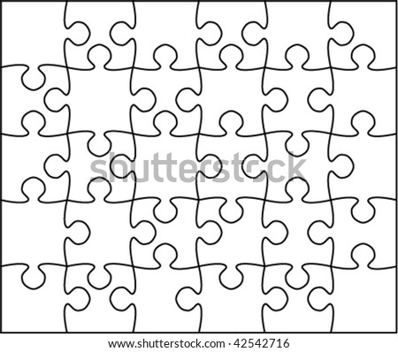 Beautiful Transparent Jigsaw Puzzle Vector 5x6