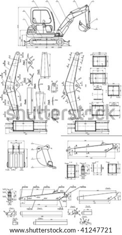 Beautiful transparent mechanical sketch vector - stock vector