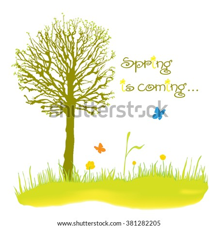 Beautiful tree on a spring meadow - stock vector
