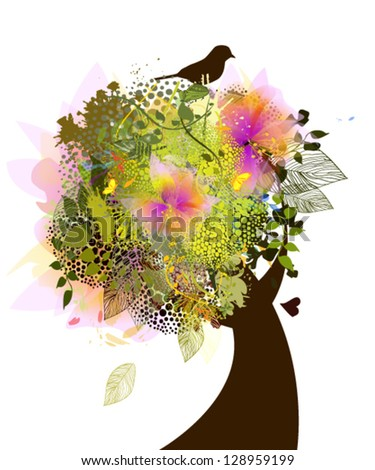 Beautiful tree with flowers and birds - stock vector