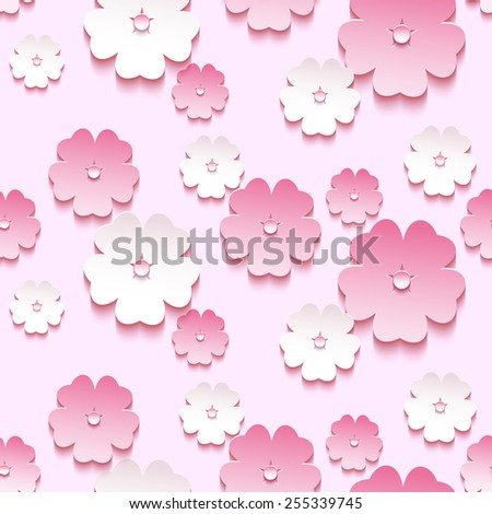 Beautiful trendy background seamless pattern with pink - white blossoming 3d flower sakura - japanese cherry tree. Floral modern stylish wallpaper. Spring background. Vector illustration - stock vector