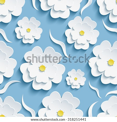 Beautiful trendy romantic festive blue background seamless pattern, white blossoming 3d flower sakura, japanese cherry tree and decorative wave. Floral stylish modern wallpaper. Vector illustration. Cut paper.