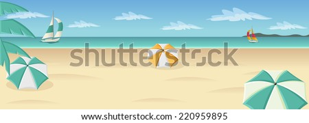 Beautiful tropical beach with blue ocean, umbrellas and palm / Coconut trees.  - stock vector