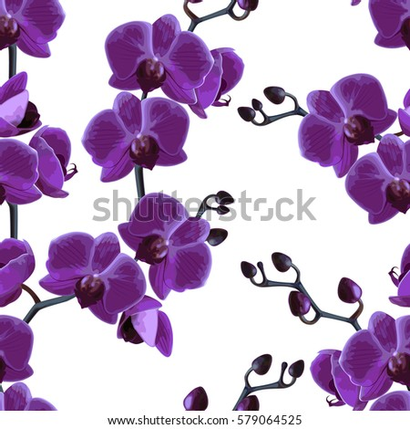 Beautiful tropical bright background. Seamless branches pattern orchids. Vector illustration.