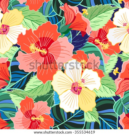 Beautiful tropical colorful pattern hibiscus flowers vector illustration - stock vector