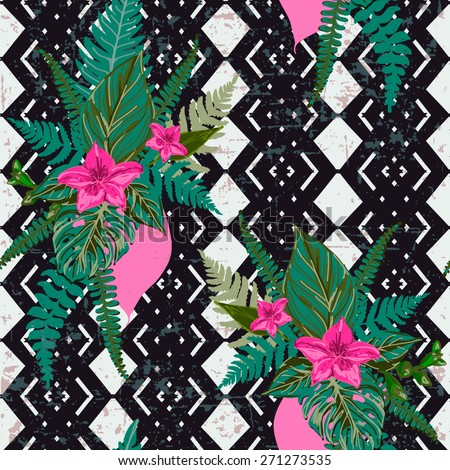Beautiful tropical floral pattern with abstract geometric black and white background.Vintage seamless fashion floral texture for design. - stock vector