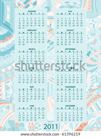 Beautiful turquoise and orange 2011 vector calendar - stock vector