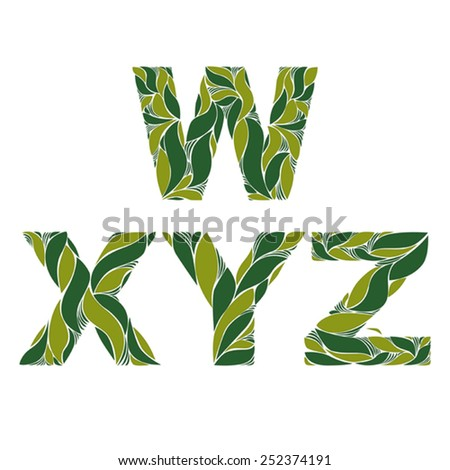 Beautiful typescript with natural spring pattern created from green leaves. Flowery alphabet, calligraphic ornamental letters. - stock vector