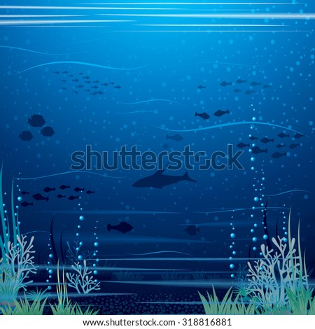 Beautiful Underwater Landscape. Vector Art Ready for Your Text and Design. - stock vector