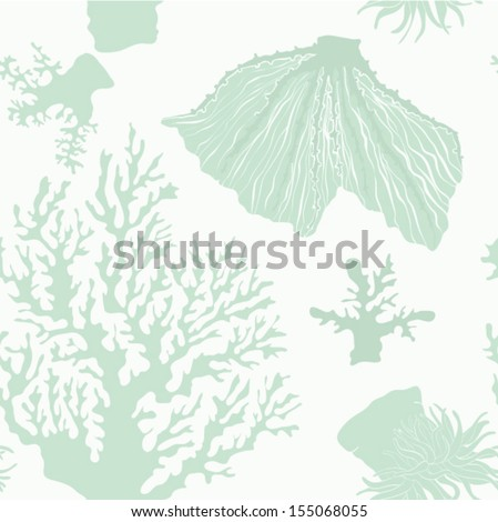 Beautiful underwater seamless vector pattern made in aquamarine color. Perfect tropical pattern with different types of corals. Detailed fossil structure drawn by hand. Ideal sea reef background. - stock vector