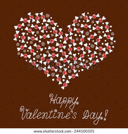 Beautiful Valentines Day Card Heart Made Vector 244500499 – Beautiful Valentine Day Cards