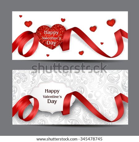 Beautiful Valentine's Day cards with red silk ribbons and textured hearts - stock vector