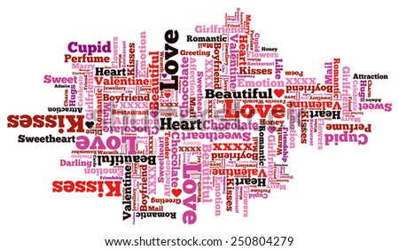 Beautiful Valentine Themed Typographical Pattern made up of the many words representing Love and Affection. - stock vector