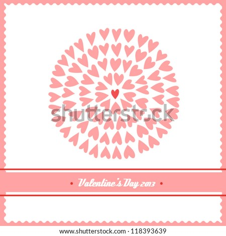 Beautiful valentines day card with hearts. Vector illustration. Retro valentines heart. - stock vector