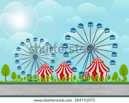 beautiful vector abstract for Carnival Funfair with Two big rides and three white and red colour tomb illustration in a creative blue colour cloudy sky in background. - stock vector