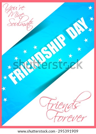 Beautiful vector abstract for Friendship Day in a creative and textured blue colour patch in a creative white colour background. - stock vector