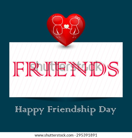 Beautiful vector abstract for Happy Friendship Day in creative white colour friends Patch in a beautiful dark colour in background with heart illustration. - stock vector