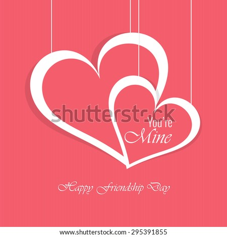 Beautiful vector abstract for Your'e Mine or Friendship Day in a creative white outlined hearts in a creative pink colour background. - stock vector
