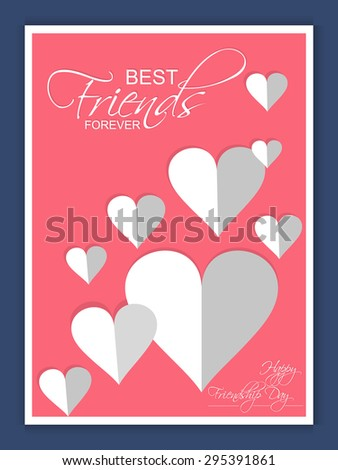 Beautiful vector abstract or greetings of Happy Friendship day in a creative pink colour and with dual tone hearts in a background. - stock vector