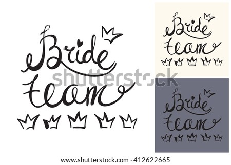 Beautiful vector attractive fashion wedding bride team. Hand drawn graphic bride team. Artistic fashion, style, beauty element. Isolated element on white, gray background - stock vector