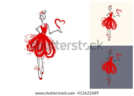 Beautiful vector attractive fashion wedding bridesmaid. Hand drawn graphic bridesmaid. Artistic fashion, style, beauty element. Isolated element on white, gray background - stock vector