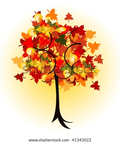 beautiful vector autumn tree design - stock vector