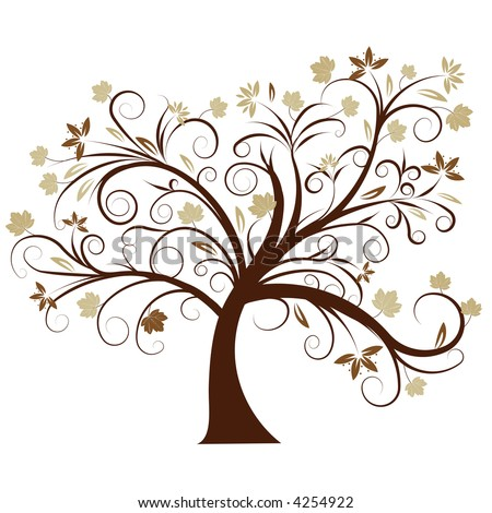 beautiful vector autumn tree design - stock vector